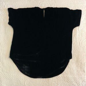 Madewell Tops - Madewell Black Velvet Top with Tulip-Hem